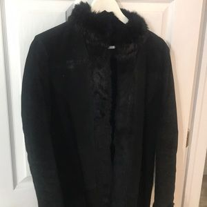 Wilsons Leather Suede Coat With Rabbit Fur  Small